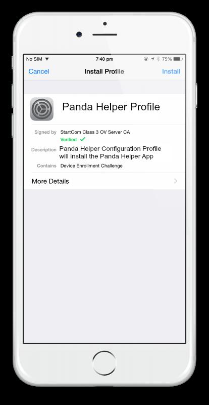 panda helper Profile Screen iOS