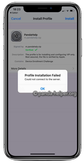 panda helper profile installation failed